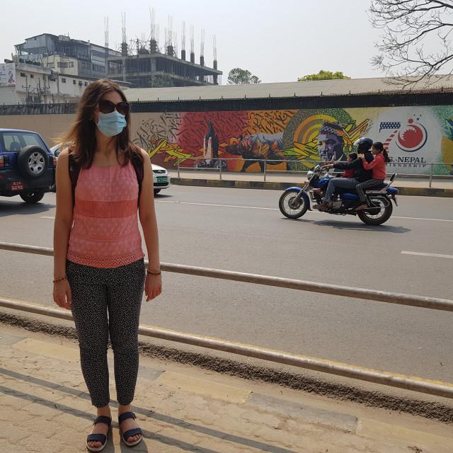 """""""Tourist wearing a mask, Kathmandu, Nepal"""" stock image"""