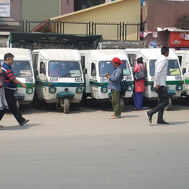 """Line of Tuk Tuks, Kathmandu, Nepal"" stock image"