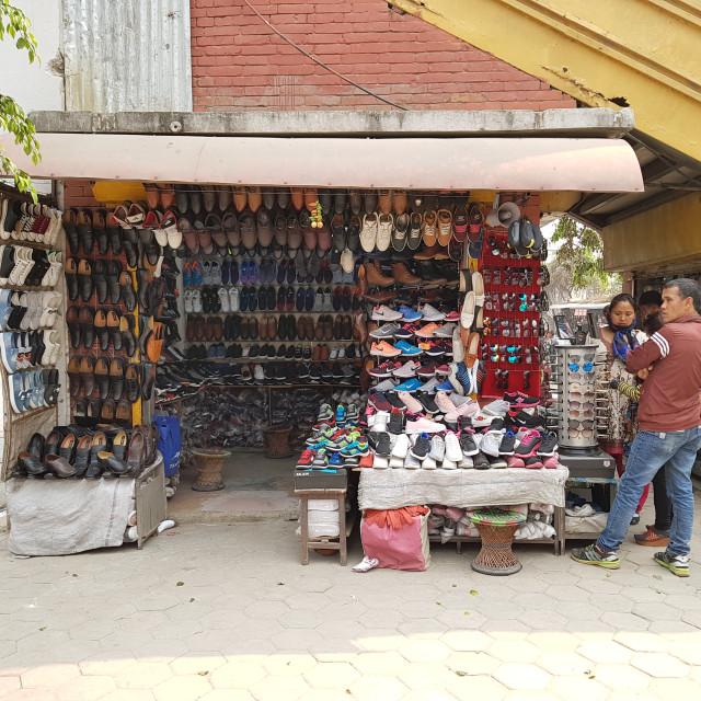 """""""Shoe Store, Kathmandu, Nepal"""" stock image"""
