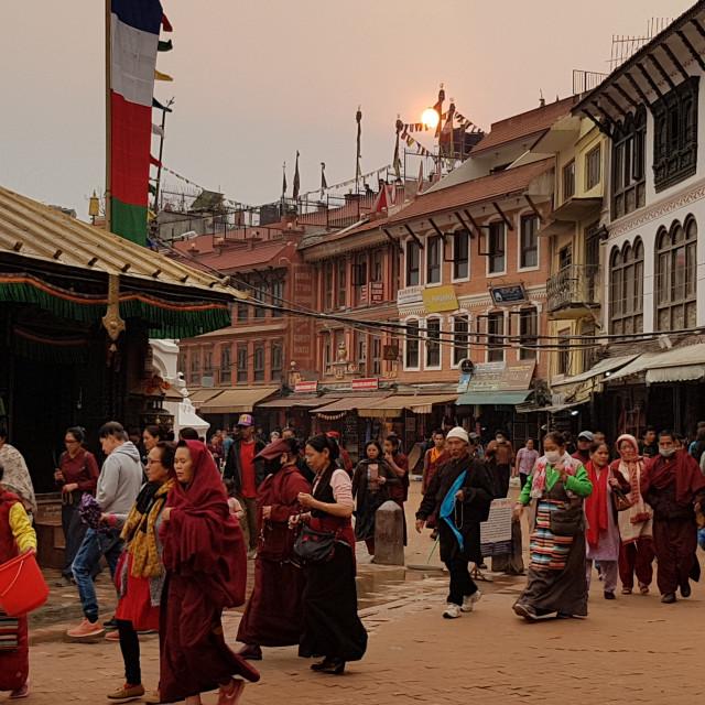 """People circling Swayambhunath Temple, Kathmandu"" stock image"