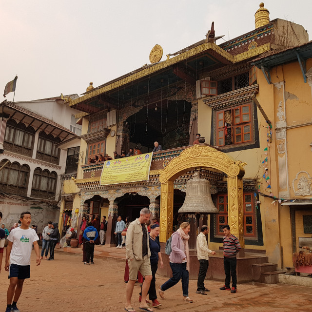 """Buildings around Swayambhunath Temple, Kathmandu"" stock image"
