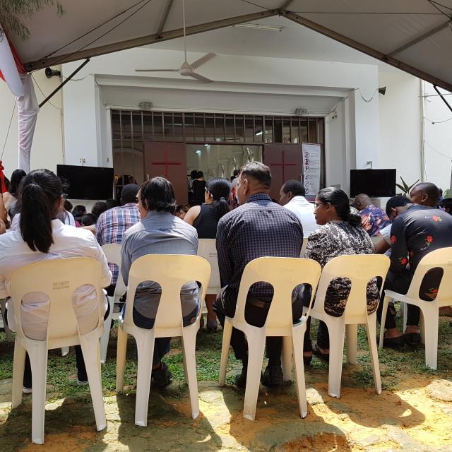 """""""Catholic Church Service, Kuala Lumpur, Malaysia"""" stock image"""