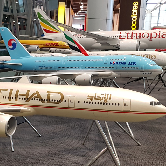 """""""Model Aeroplanes at Kuala Lumpur International Airport, Malaysia"""" stock image"""