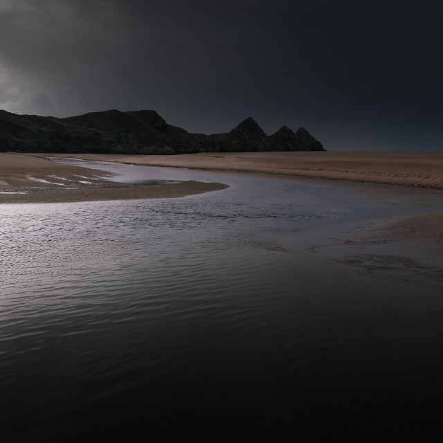 """Three Cliffs Bay, Gower, Wales, UK"" stock image"