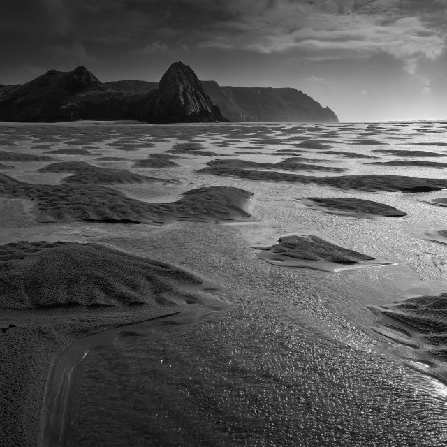 """Tidal pools, Three Cliffs Bay."" stock image"