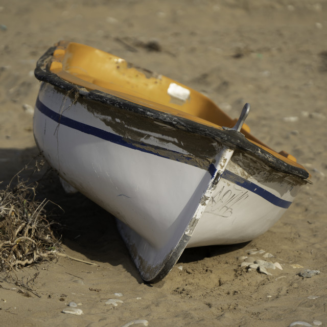 """""""Wooden Boat On The Sand"""" stock image"""