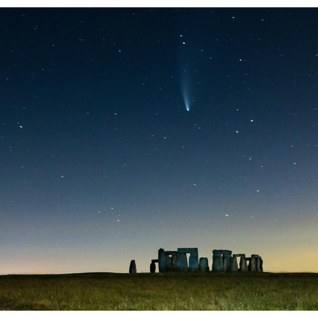 """""""Comet Neowise over Stonehenge"""" stock image"""