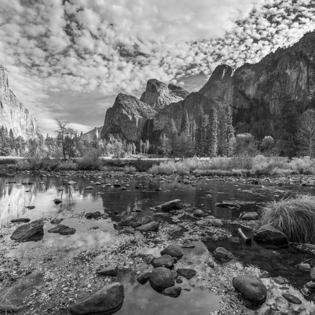 """Yosemite Valley View (black & white)"" stock image"