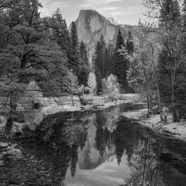 """Yosemite Half Dome Reflection (black & white)"" stock image"
