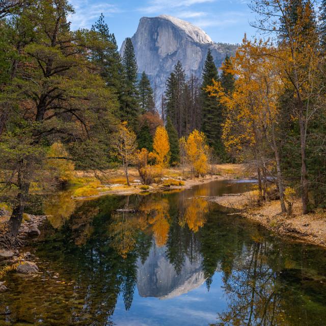 """""""Yosemite Half Dome Reflection (colour)"""" stock image"""