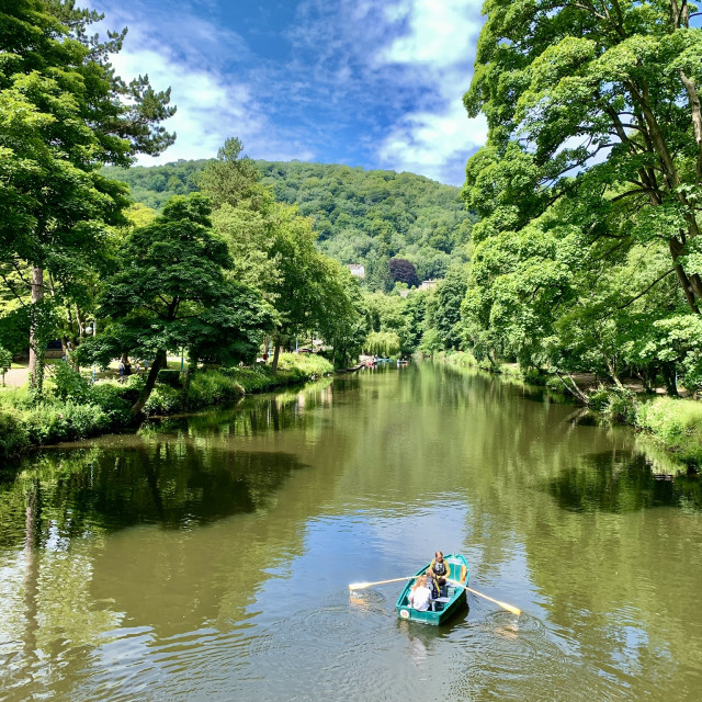 """""""Boating on the river at Matlock Bath"""" stock image"""