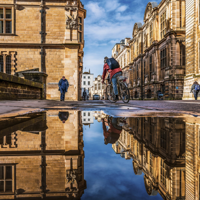 """""""Reflections from Downing Street, Cambridge UK."""" stock image"""