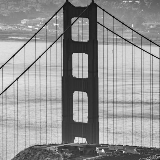 """Walking to the Bridge (black & white)"" stock image"