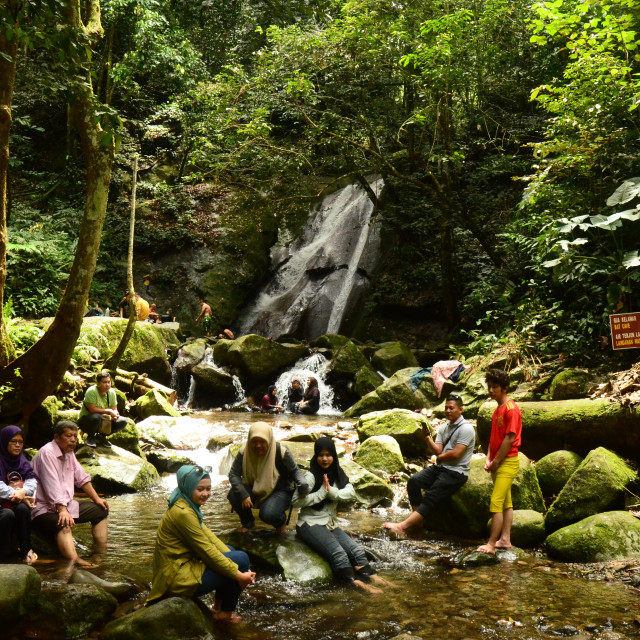 """""""Tourists by River, Borneo"""" stock image"""
