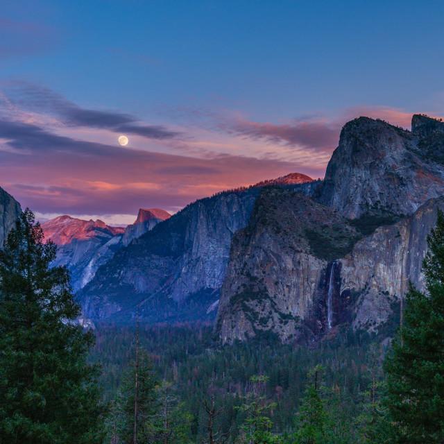 """""""Yosemite Sunset and Moonrise"""" stock image"""
