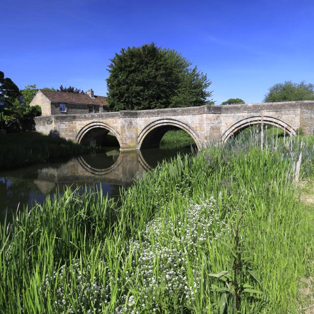 """Spring, river Welland bridge, Deeping St James town, Lincolnshir"" stock image"