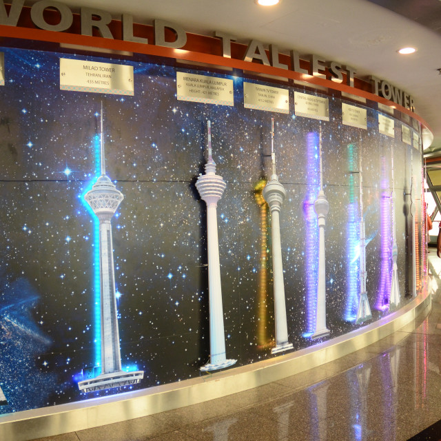 """""""Tallest Towers Display on Viewing Level of Kuala Lumpur Tower"""" stock image"""
