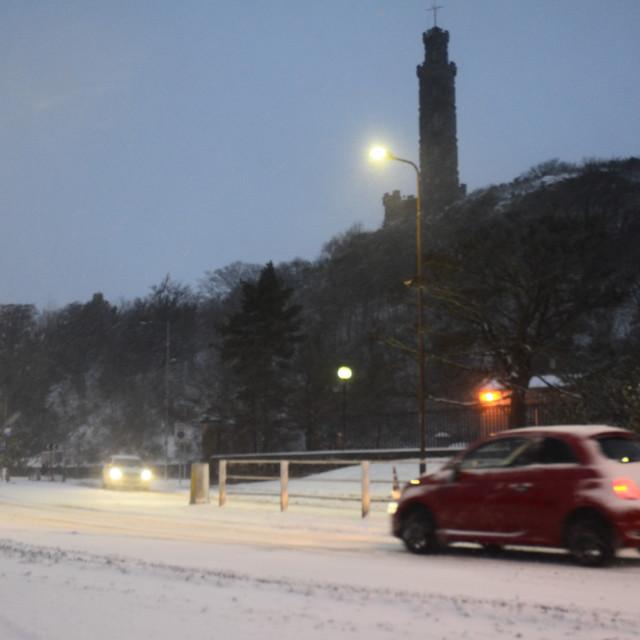 """""""Calton Hill in Snow"""" stock image"""