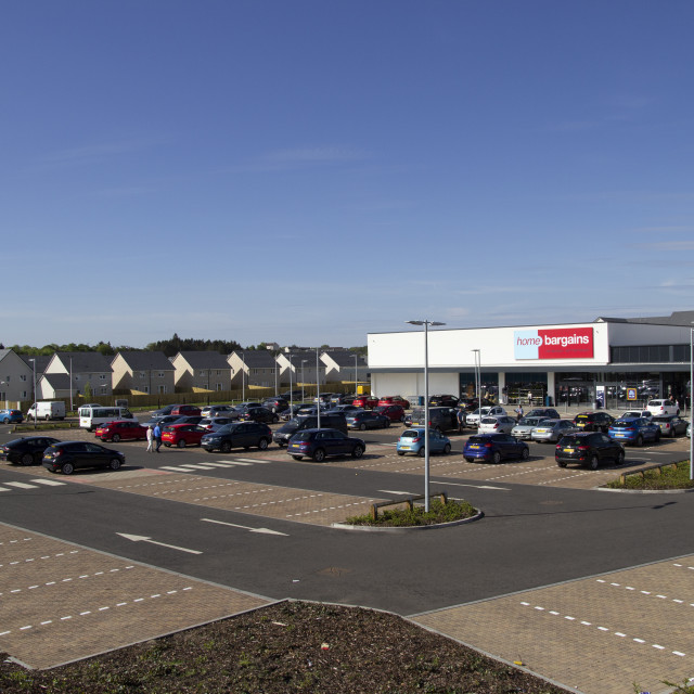 """Home Bargains store on the old Rolls-Royce site"" stock image"
