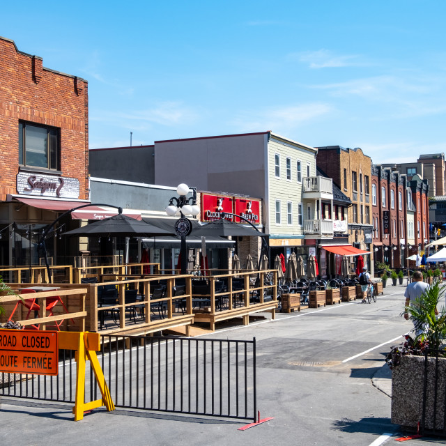 """""""Clarence St. Closed for Patios in ByWard Market"""" stock image"""