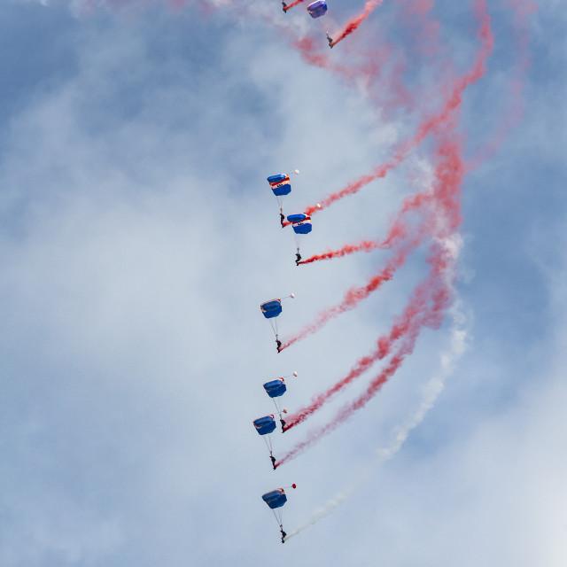 """Falcons free fall parachute display team."" stock image"