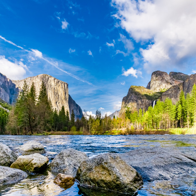"""View of El Capitan and Half Dome in Yosemite National Park"" stock image"