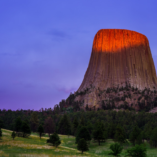 """Devils Tower Sunset"" stock image"