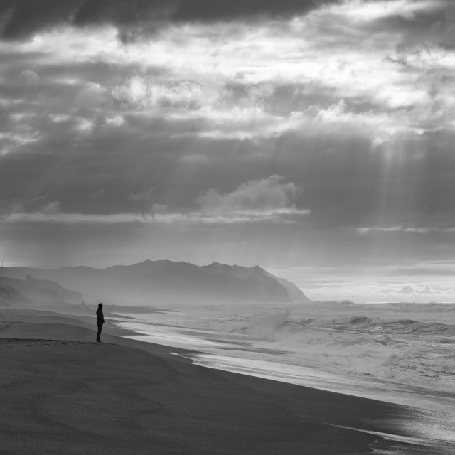 """""""Sunbeams and Waves (black & white)"""" stock image"""