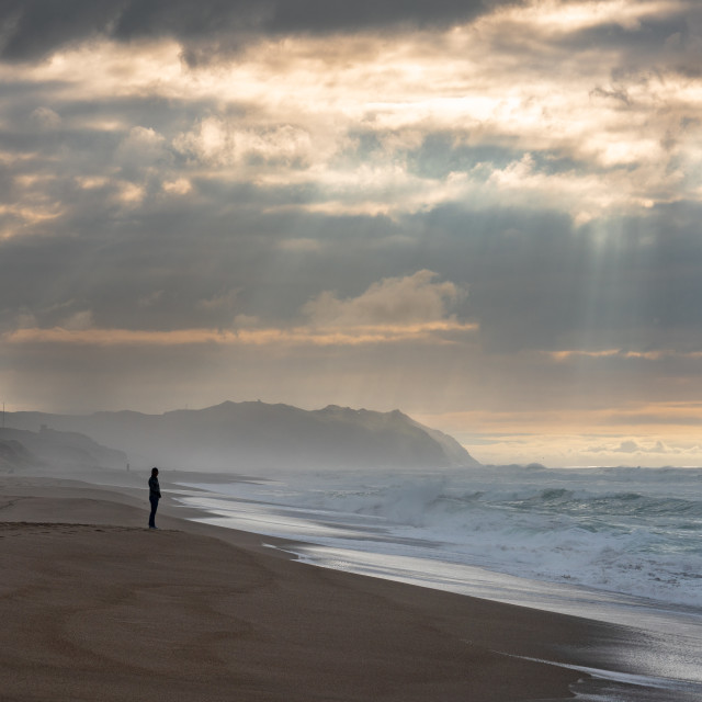 """""""Sunbeams and Waves (colour)"""" stock image"""