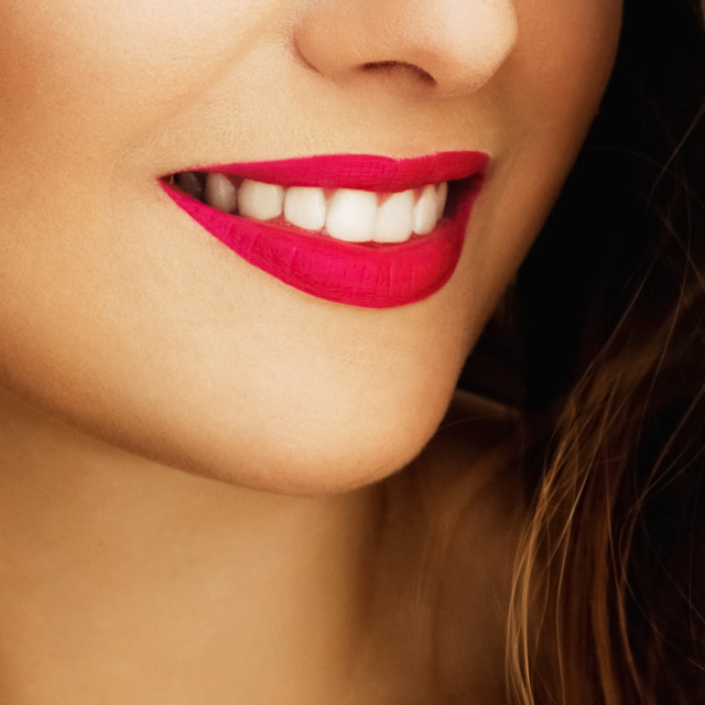"""Happy healthy female smile with perfect natural white teeth, bea"" stock image"