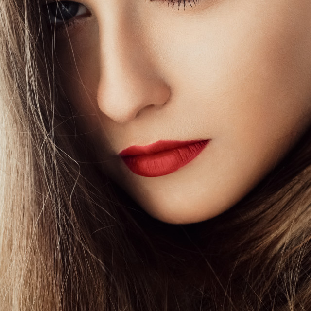 """Chic beauty portrait of a woman with classy makeup look and perf"" stock image"