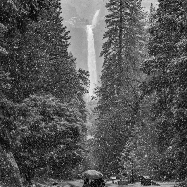 """Snowfall and Waterfall"" stock image"