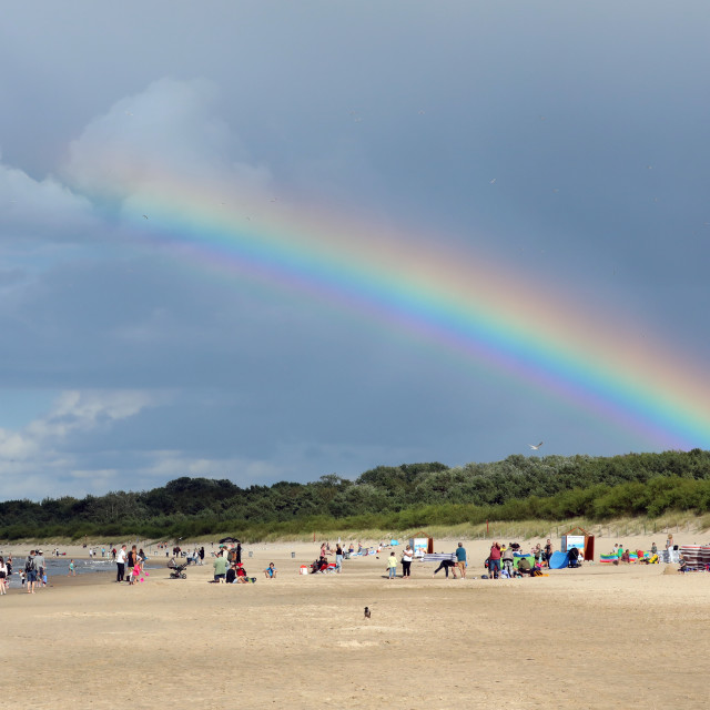 """Rainbow in the sky after summer rain"" stock image"