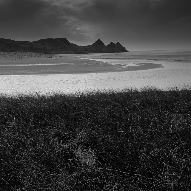 """In the rough, Three Cliffs Bay, Gower."" stock image"