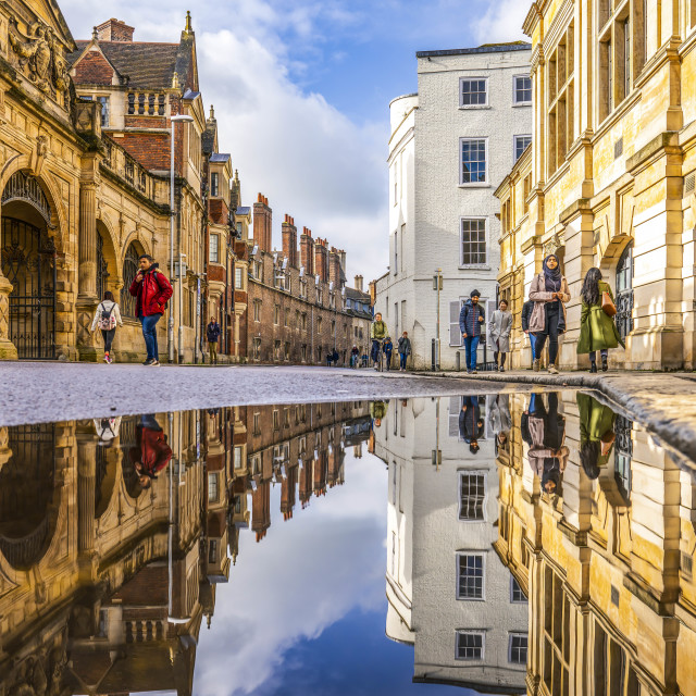 """Reflections from Pembroke Street. Cambridge UK."" stock image"