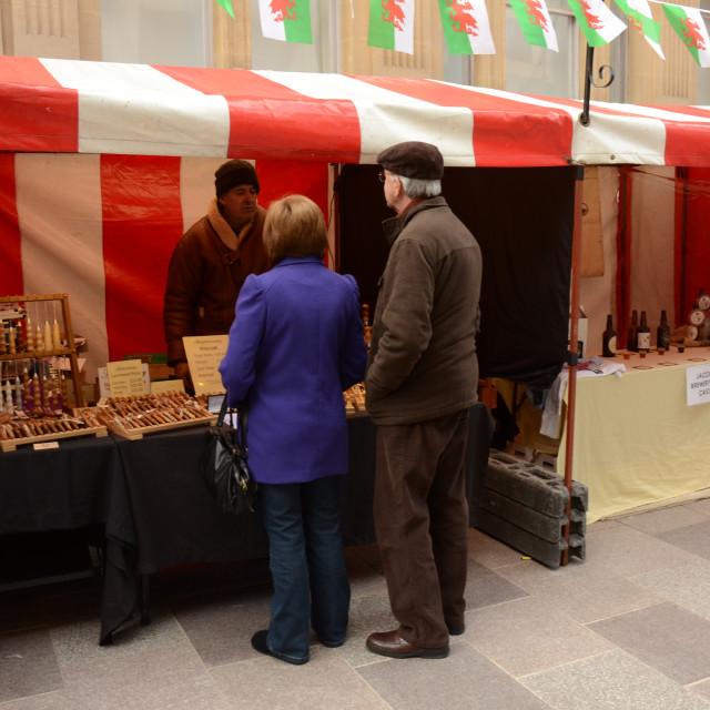 """""""Market, Cardiff, Wales"""" stock image"""