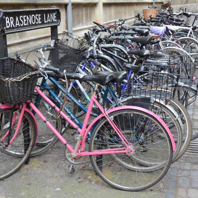"""Bicycles in Oxford, England"" stock image"