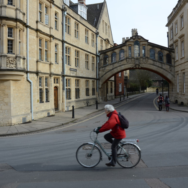 """Cyclist in Oxford, England"" stock image"