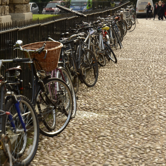 """Bicycles parked by a railing, Oxford"" stock image"