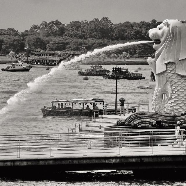 """Lion Fish Fountain, Singapore"" stock image"