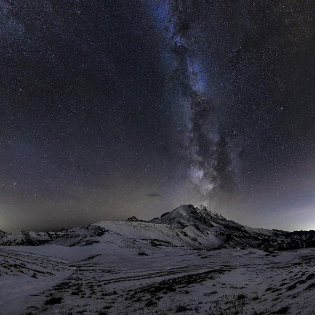 """Mount Rainier Winter Milky Way"" stock image"