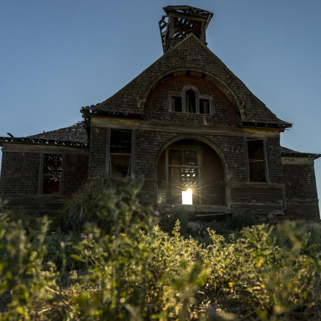 """""""Eastern Washington State Abandoned Schoolhouse"""" stock image"""