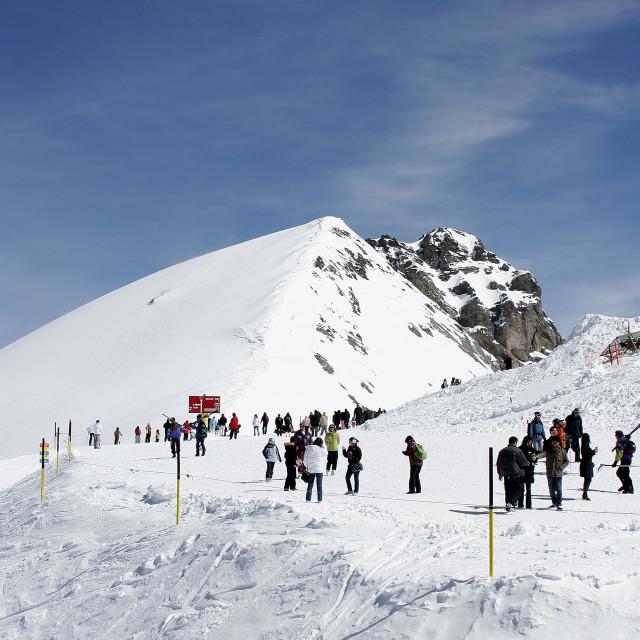 """Mount Titlis Peak, Central Switzerland, Switzerland"" stock image"