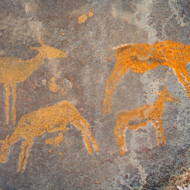 """Bushmen rock painting - South Africa"" stock image"