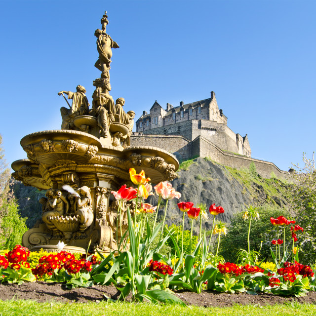 """Ross Fountain and Edinburgh Castle"" stock image"