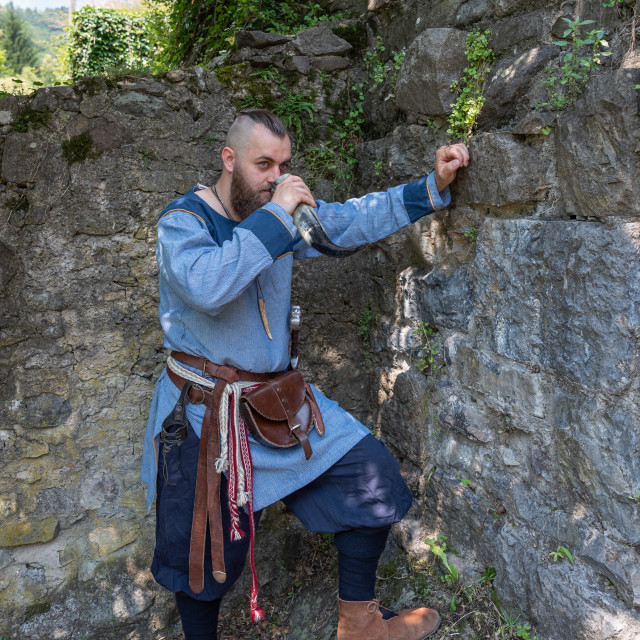 """""""A Viking warrior drinks cider from a horn"""" stock image"""