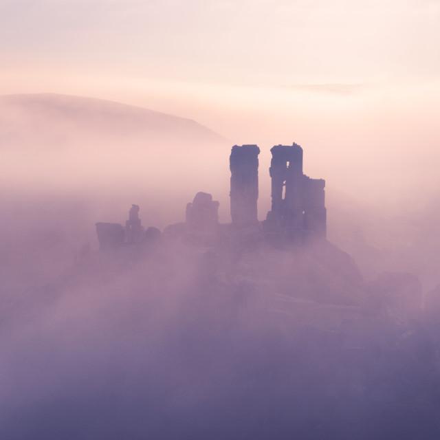 """Corfe Castle Mists"" stock image"