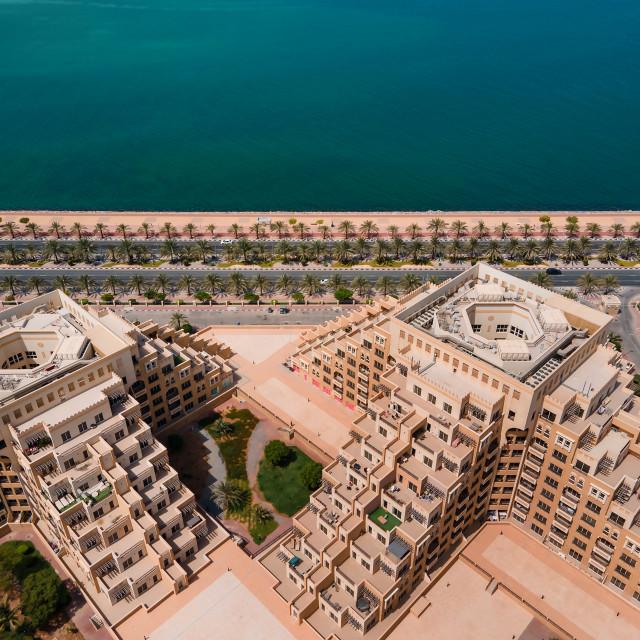 """Marjan Island in Ras al Khaimah emirate in the UAE aerial view"" stock image"