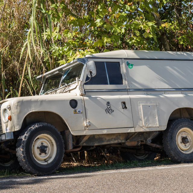 """Land Rover Series III parked on the kerbside"" stock image"