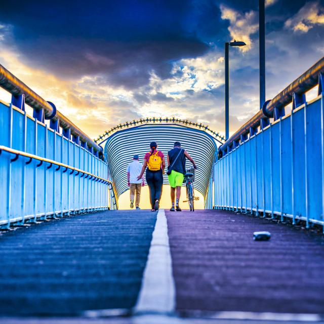 """""""Coldhams Lane Cycle Bridge, Cambridge UK."""" stock image"""